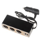 WEIFENG WF-038 1-to-3 Car Cigarette Lighter Power Splitter Adapter w/ Dual-USB Output - Black