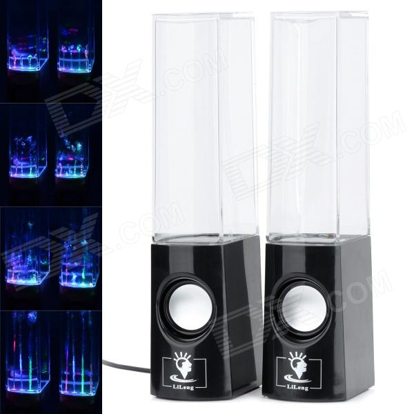 Dancing Water Speaker w/ RGB LED Light for Iphone / Ipad / PC / MP3 - Black  цена