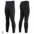 Outto 115# Men's Elastic Cooldry Skinny Pants for Sports / Exercise - Green + Black (L)