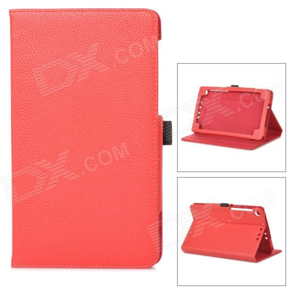 Styish Flip-open PU Leather Case w/ Holder for Google Nexus 7 II - Red stylish protective pu leather case w card holder slots for google nexus 7 ii black