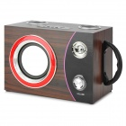 DEKKO DK002 Portable USB Rechargeable Multi-Media Player Speaker w/ SD / USB - Wooden + Black