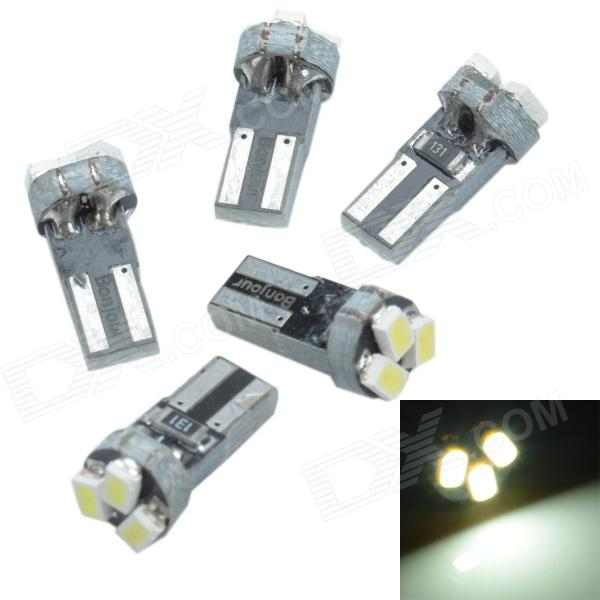 Cheerlink T5-3 T5 0.5W 80lm 3 x SMD 3020 LED White Light Car Instrument Lamp - Yellow (12V / 5 PCS) cheerlink t5 2 t5 0 5w 12lm 2 x smd 3528