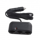 HongPin 3-Socket USB Car Cigarette Lighter Power Adapter Charger - Black (DC 12~24V)