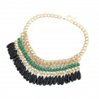 Fashionable Bohemian Acrylic Water-drop Pattern Beads Necklace - Green + Black