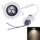YOSUN 3W 200lm 3500K 3-LED Warm White Light Ceiling Lamp - White + Black (AC 220V)