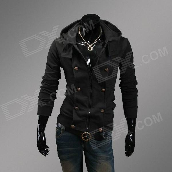 Casual Slim Fit Hooded Coat - Black (Size XL)