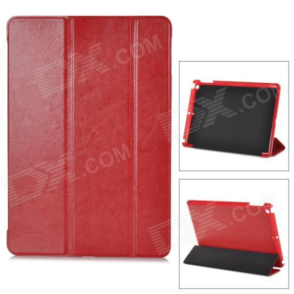 Protective 3-Section Folding PU Leather Case w/ Auto Sleep for Ipad AIR - Red