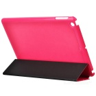 Schutz 3-Section Folding PU-Leder Fall w / Auto-Sleep für Ipad AIR - Deep Pink