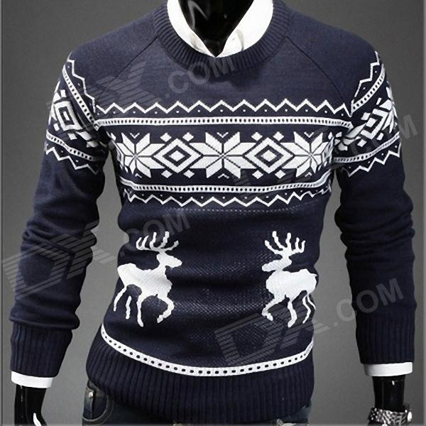Men's Fashion Slim Fit Sweater - Navy + White (L)