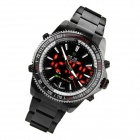 WEIDE A016 30m Waterproof Tungsten Steel Material Men's Watch - Black + White (2 x CR2025 1x LR626 )