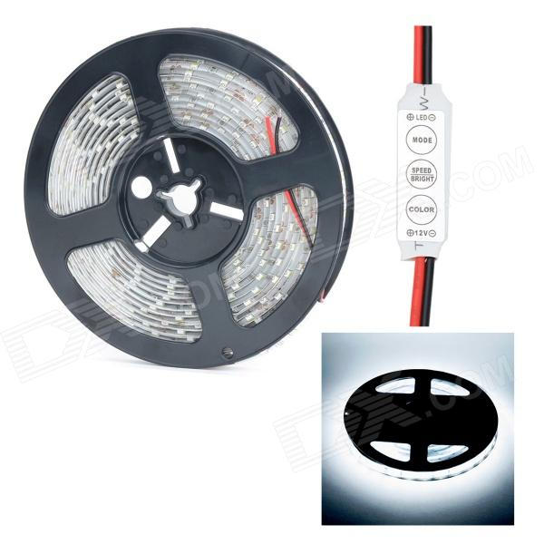 HML Waterproof 72W 9000lm 6000K 300 x SMD 5630 LED White Light Strip w/ Mini Controller - (5M / 12V) freeshipping martin strobe light controller box mini size blinder effect single flash channels push stage lighting controller