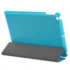 Protective 3-Section Folding PU Leather Case w/ Auto Sleep for Ipad AIR - Lake Blue
