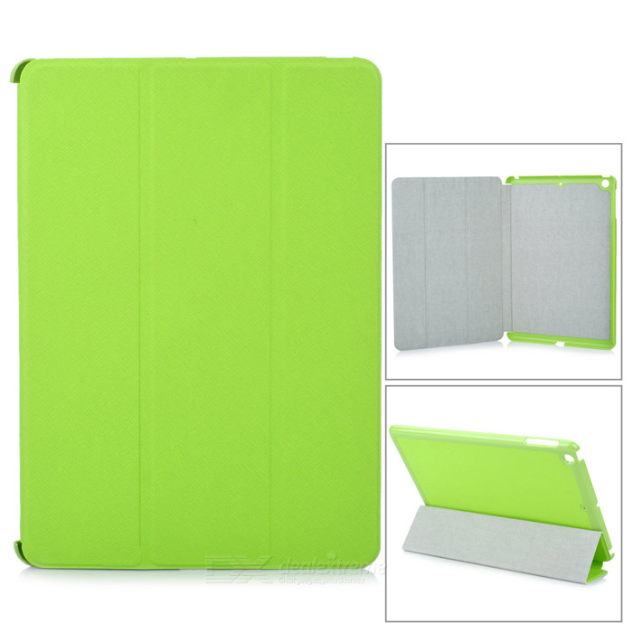 Protective 3-Section Folding PU Leather Case w/ Auto Sleep for Ipad AIR - Light Green