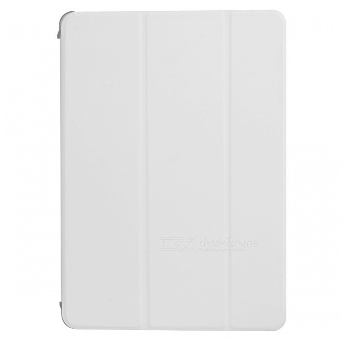 Protective Flip Open Three-fold PU + Plastic Wake-up / Sleep Case for Ipad AIR - White + Translucent