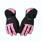Women's Fashion Warm Ski Waterproof Gloves - Pink + Black