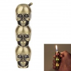 Stylish LED Eyes Skull Heads Pattern Gas Lighter - Golden (3 x LR621)