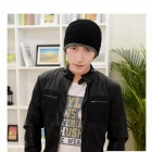 Double Thickening Double-sided Wear Knitting Hat - Black