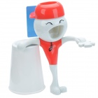 Q-18 Wall Mount Automatic Toothpaste Dispenser w/ Toothbrush Holder Set - Red + White