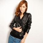 Women's Slim Fit Collar Jacket - Black (M)