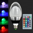 Letter Fire E27 10W 1-COB LED RGB Light Bulb w/ Remote Controller - Black + Silver + Multicolored