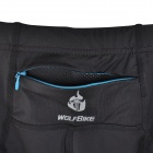WOLFBIKE BC115-L-0XL Men's Sports Elastic Lycra Pants w/ Reflective Zipper - Black + Blue (XL)