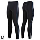 WOLFBIKE BC115-L-00M Men's Sports Elastic Lycra Pants w/ Reflective Zipper - Black + Blue (M)