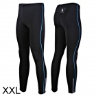 WOLFBIKE BC115-L-XXL Men's Sports Elastic Lycra Pants w/ Reflective Zipper - Black + Blue (XXL)