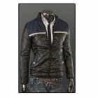 Men's Warm Thicken Cotton-Padded PU Leather Coat - Black (Size-XL)