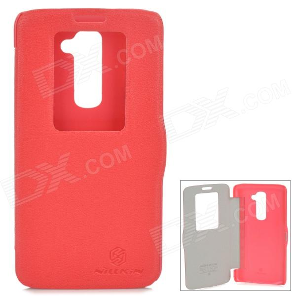 NILLKIN Protective PU Leather + PC Case for LG G2 D802 - Red nillkin star series protective case for moto g2 pink