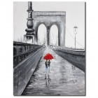 Iarts lovers on the Bridge Pattern Oil Painting - Multicolored