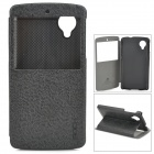 ROCK Protective PU Leather + PC Case w/ Display Window for LG Nexus 5 - Black