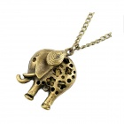 Fashionable Vintage Engraving Little Elephant Pattern Sweater Chain Necklace - Antique Copper