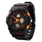 SKMEI 0955 30m Waterproof Analoge Digital Dual-time Men's Sports Watch -Black + Orange