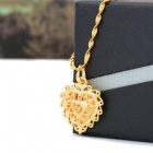 KCCHSTAR High-Quality Fine Copper Electroplating 24K Gold Heart Shape Pendant Necklace