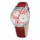 Fashion Women's Heart-shaped Pattern Retro Quartz Watches - Red + Silver
