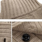 Stylish Men's Casual Turtleneck Sweater - Khaki (Size-L)