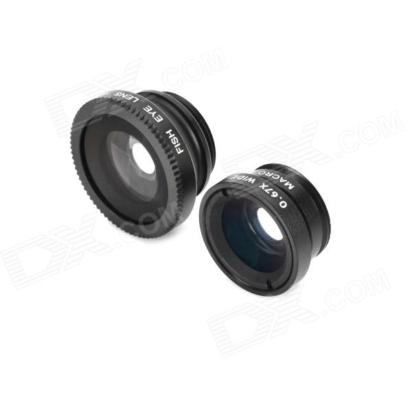 LX-P301 Stylish Clip-On Wide Angle + Macro + Fish Eye Lens Set for Iphone / Samsung - Black