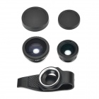 LX-P301 Stylish Clip-On Wide Angle + Macro + Fish Eye Lens Set for Cell Phone / Pad - Black