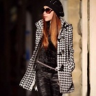 Fashion Ladies Plover Wool Coat - Black + White (Size-L)