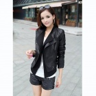 Locomotive Short Slim Thin Leather Coat - Black (Size-L)