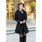 Stylish Women's Slim Fit Double-breasted Wool Coat - Black (Size-L)