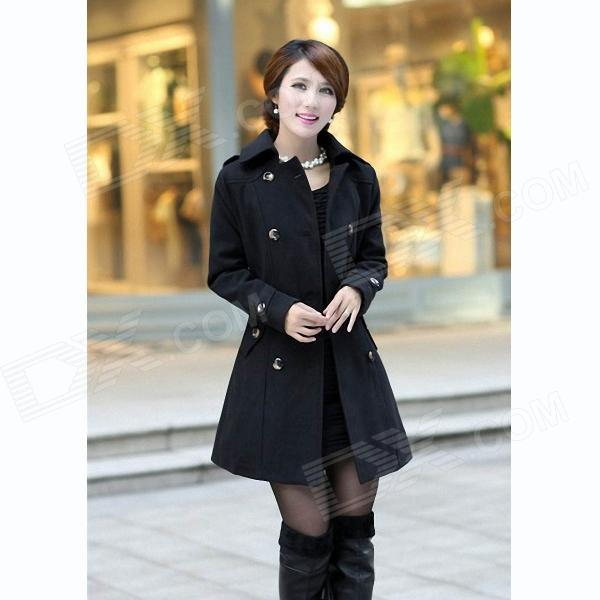 Fashionable Women's Slim Fit Double-Breasted Wool Coat - Black