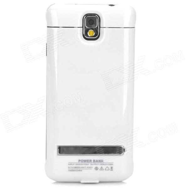 External 3800mAh Power Battery Charger Back Case for Samsung Galaxy Note 3 - White