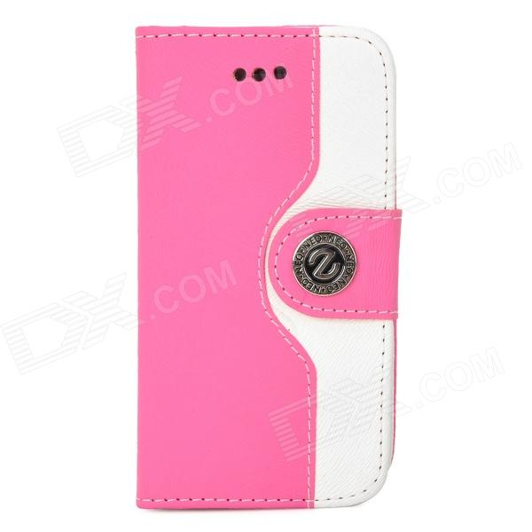 Stylish PU + Plastic Case w/ Stand / Card Slots / Strap for Iphone 4 / 4s - White + Deep Pink glossy leather wallet stand cover with 5 card slots for iphone 7 4 7 white