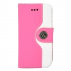 Stylish PU + Plastic Case w/ Stand / Card Slots / Strap for Iphone 4 / 4s - White + Deep Pink