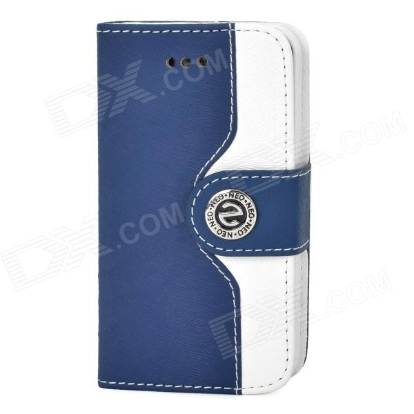 Stylish PU + Plastic Case w/ Stand / Strap / Card Slots for Iphone 4 / 4s - White + Cobalt Blue glossy leather wallet stand cover with 5 card slots for iphone 7 4 7 white