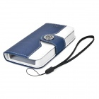 Stylish PU + Plastic Case w/ Stand / Strap / Card Slots for Iphone 4 / 4s - White + Cobalt Blue