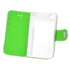 Protective PU + Plastic Case w/ Stand / Strap / Card Slots for Iphone 4 / 4s - White + Green