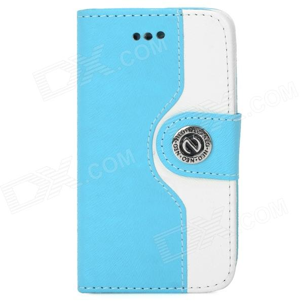 Protective PU + Plastic Case w/ Stand / Strap / Card Slots for Iphone 4 / 4s - White + Sky Blue glossy leather wallet stand cover with 5 card slots for iphone 7 4 7 white