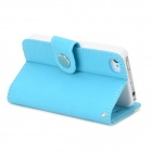 Protective PU + Plastic Case w/ Stand / Strap / Card Slots for Iphone 4 / 4s - White + Sky Blue